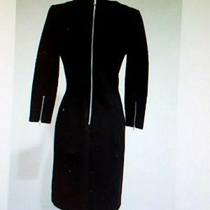 J CREW BLACK DRESS SIZE 2 ZIPPER ACCENT